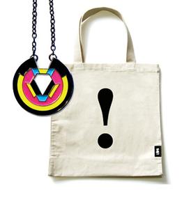CMYK pendant & Typographic tote